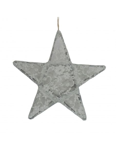 Numero 74 Lantern Star Lace Flower silver grey