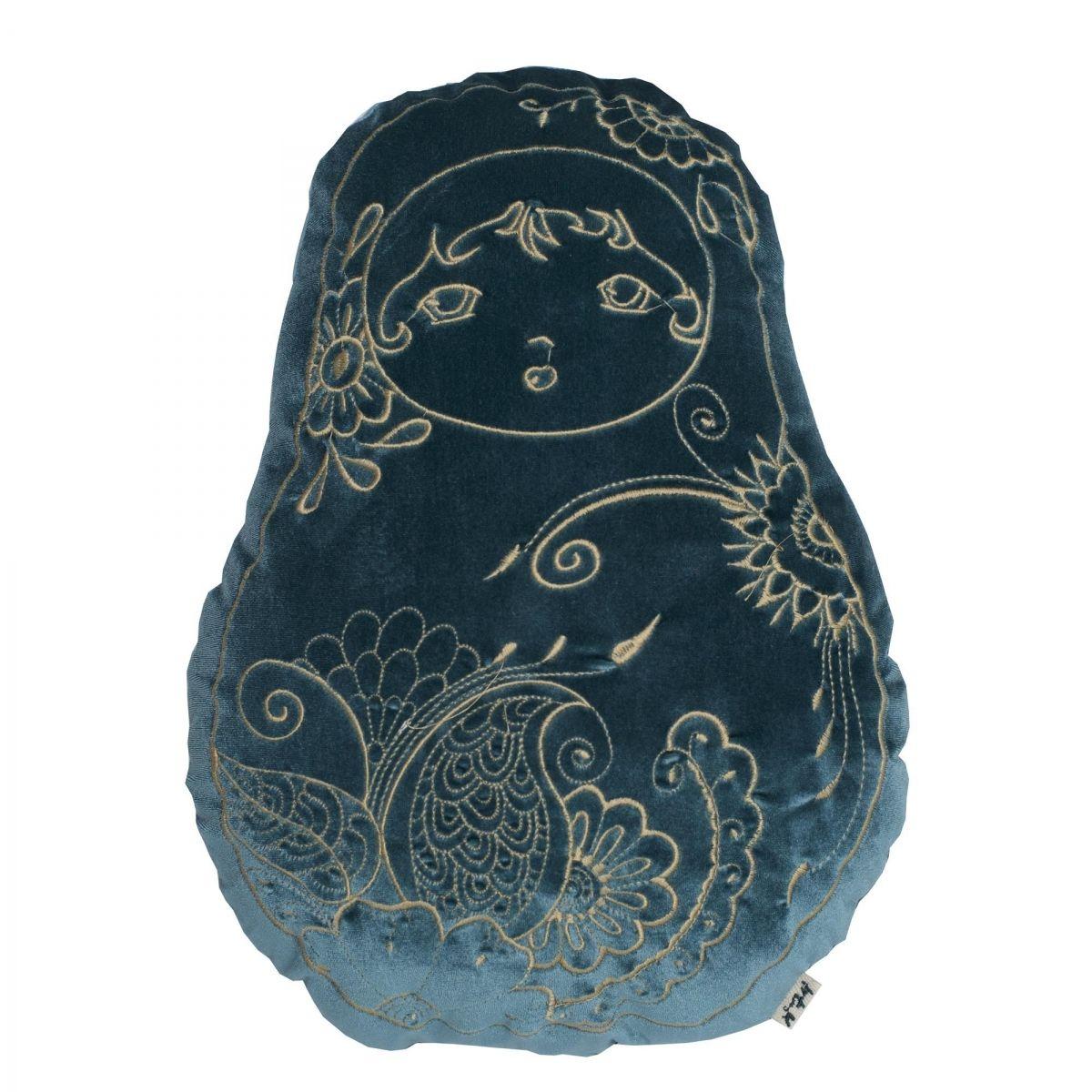 Matrioska Cushion velvet teal blue - Numero 74