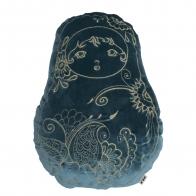 Matrioska Cushion velvet teal blue