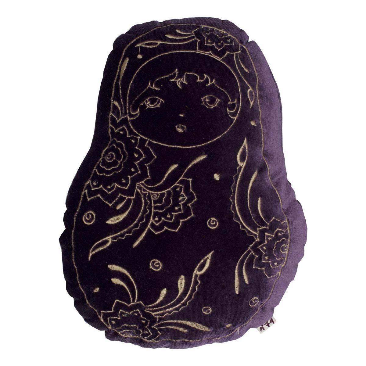 Poduszka Matrioska velvet oberżyna - Numero 74