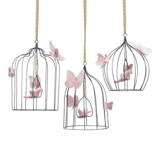Ozdoba Bohemian Birdcage zgaszony róż - Numero 74