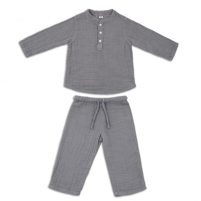 Komplet Dan koszulka & spodnie kamienny szary - Numero 74