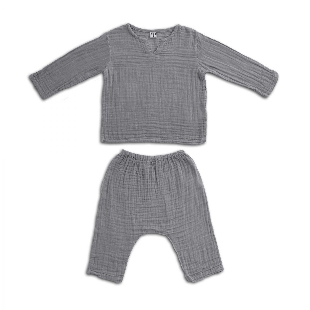 Numero 74 Komplet Zac koszulka & spodnie kamienny szary