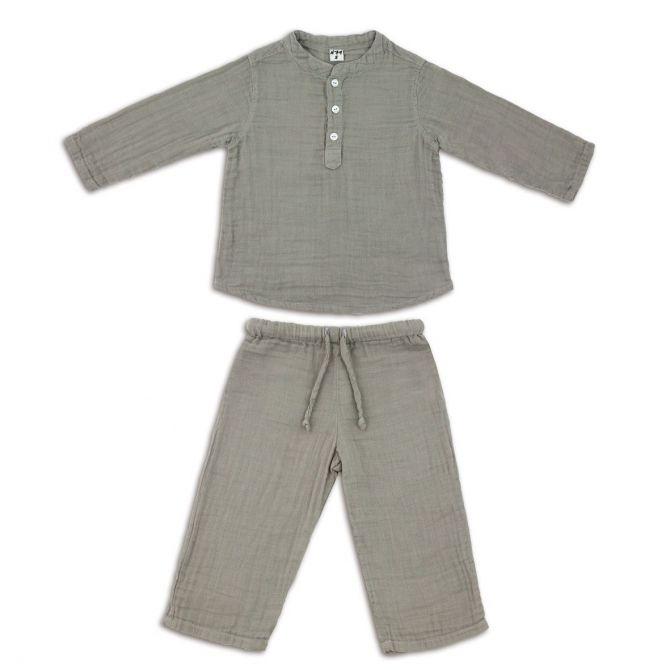 Komplet Dan koszulka & spodnie srebrnoszary - Numero 74