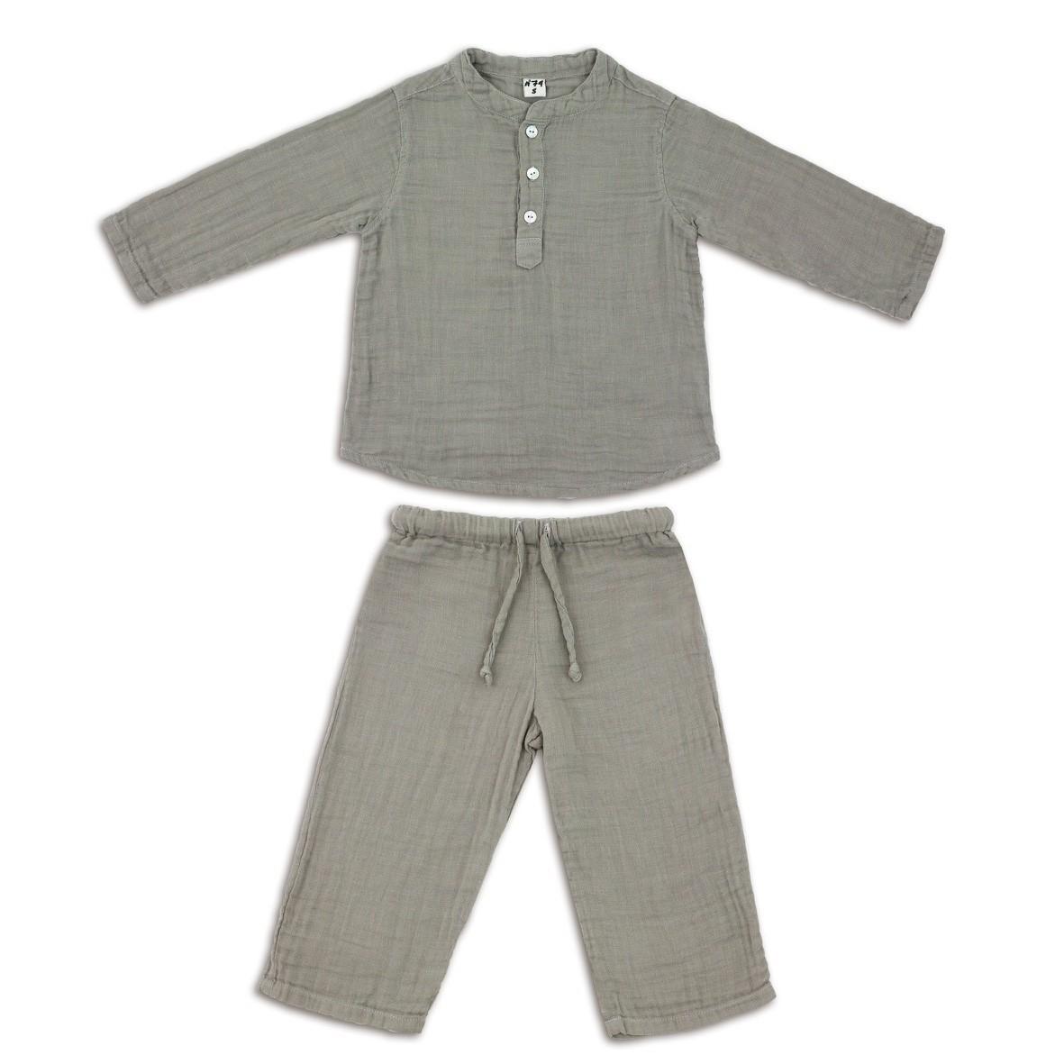 Suit Dan shirt & pants silver grey