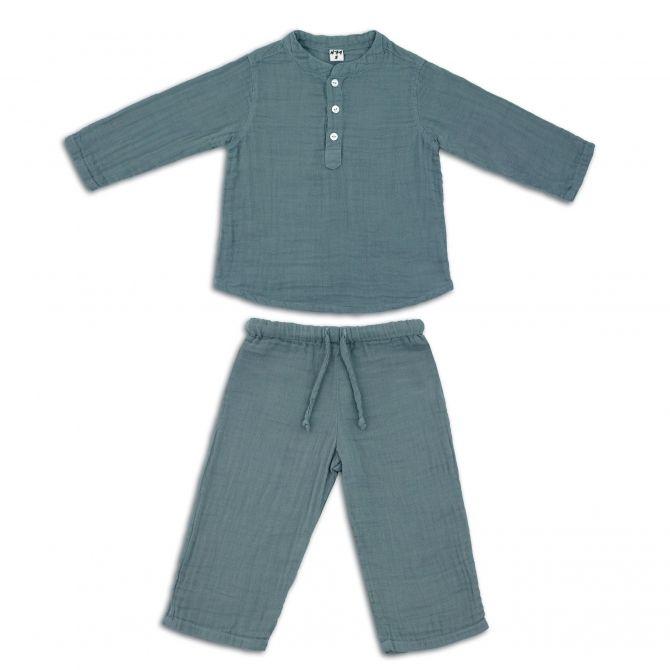 Numero 74 Komplet Dan koszulka & spodnie szaroniebieski