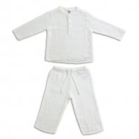 Komplet Dan koszulka & spodnie biały