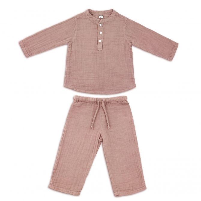 Komplet Dan koszulka & spodnie zgaszony róż - Numero 74