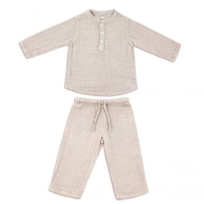 Komplet Dan koszulka & spodnie pudrowy - Numero 74