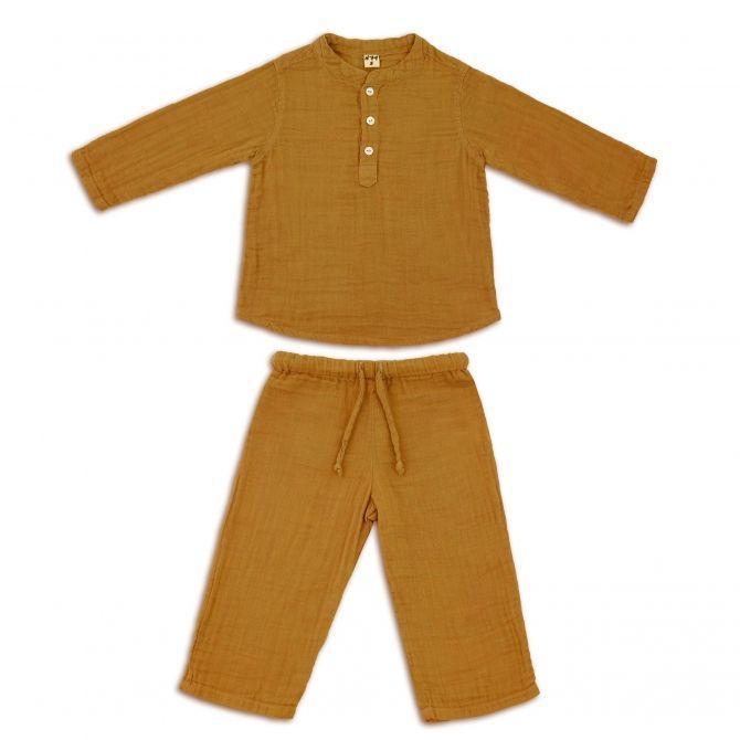 Komplet Dan koszulka & spodnie musztardowy - Numero 74