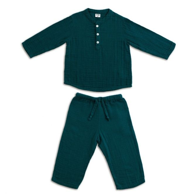 Suit Dan shirt & pants teal blue - Numero 74