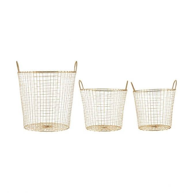House Doctor Set 3 baskets Wire brass