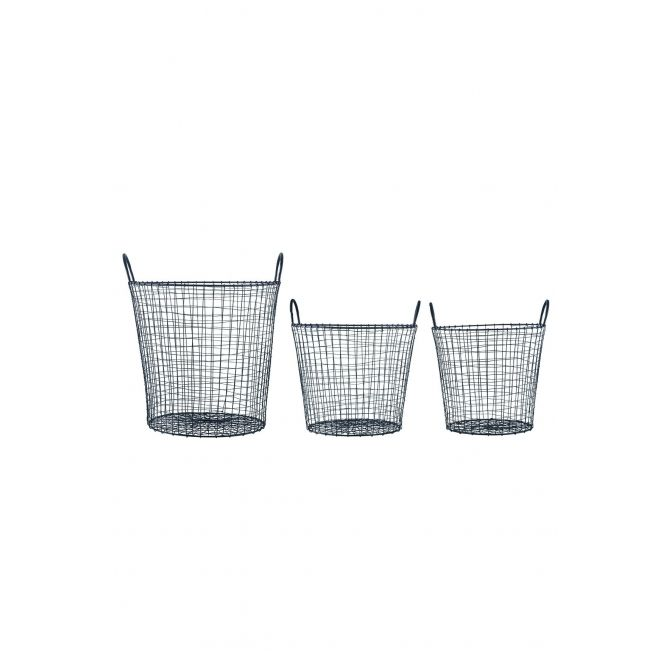 Set 3 baskets Wire black - House Doctor