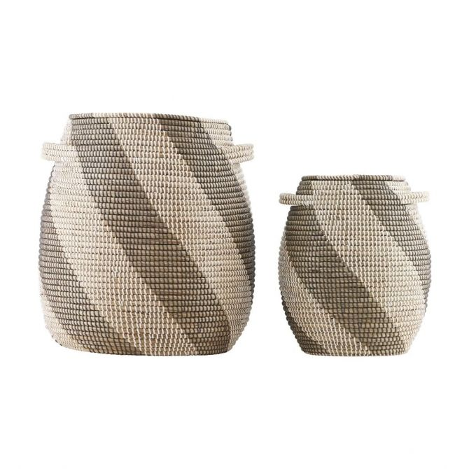 Set 2 baskets Effect white/grey/natural stripes - House Doctor