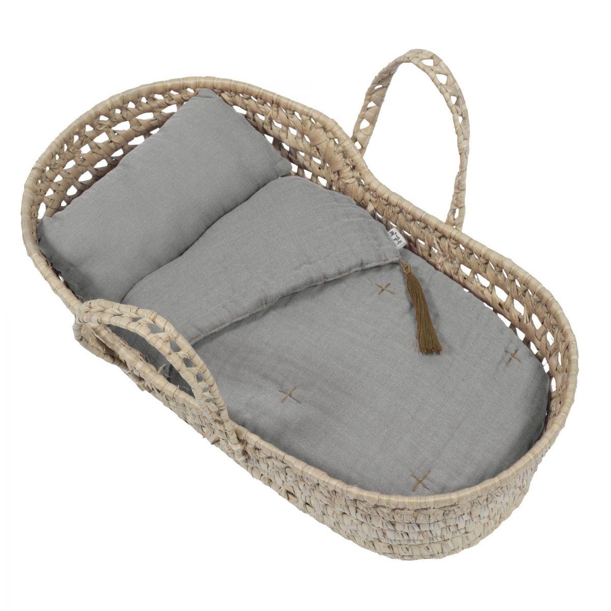 Numero 74 Doll Basket Bed Linen silver grey