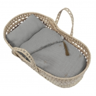 Doll Basket Bed Linen silver grey
