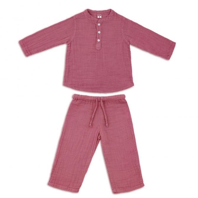 Komplet Dan koszulka & spodnie malinowy - Numero 74