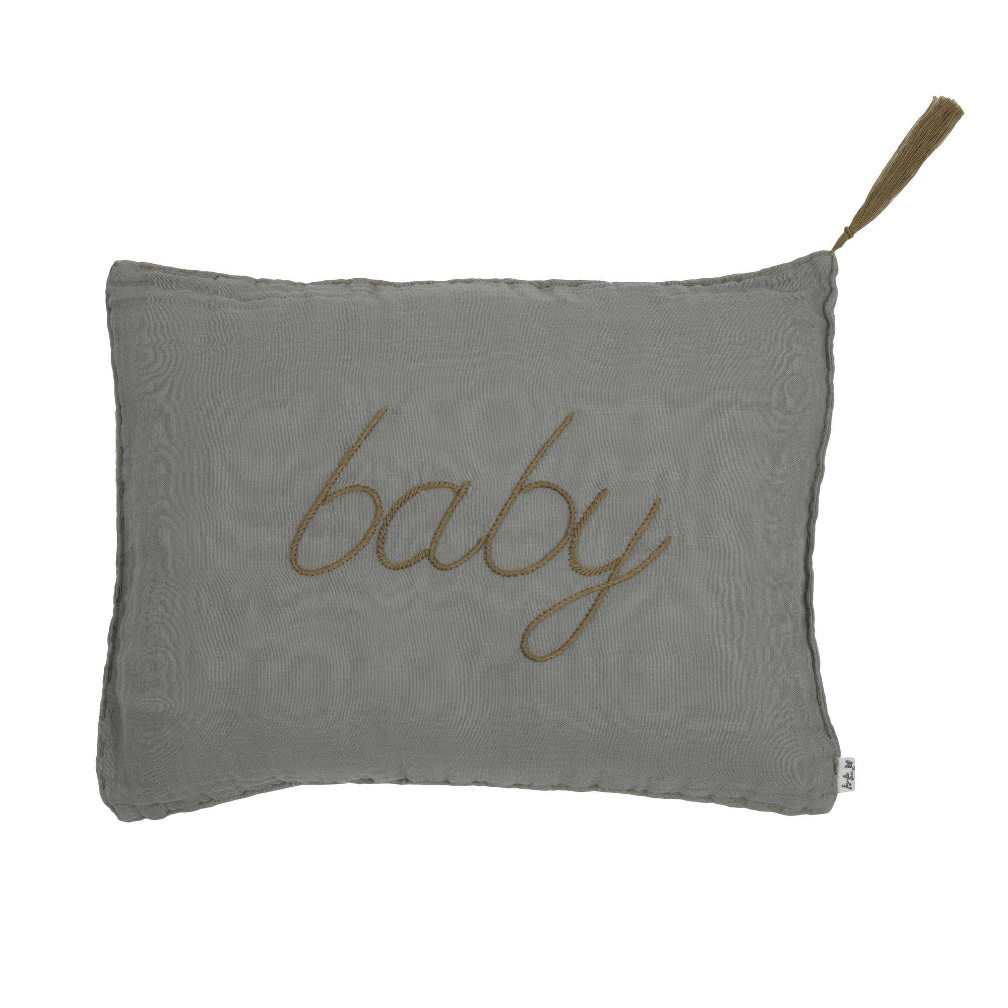 Poduszka Cushion Message pastel silver grey szara