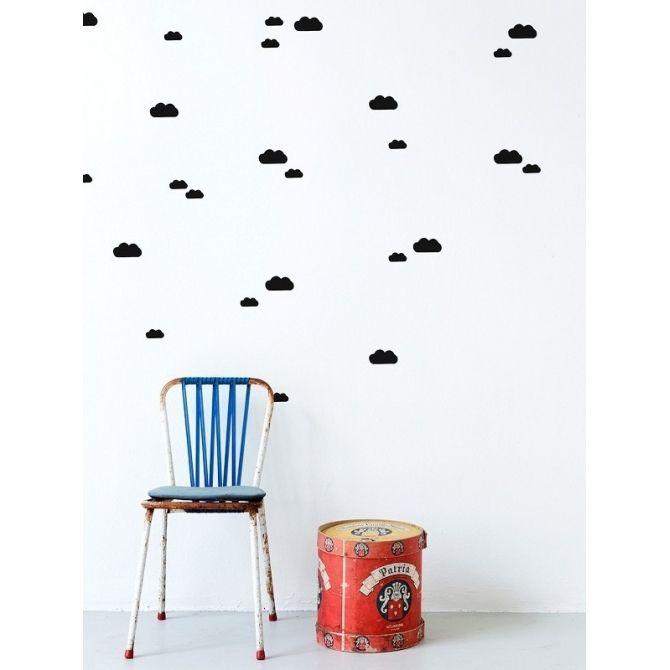Ferm LIVING Naklejki na ścianę Mini Clouds czarne