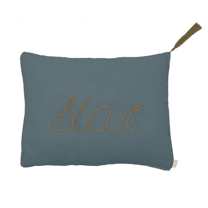 Poduszka Cushion Message pastel ice blue szaroniebieska -