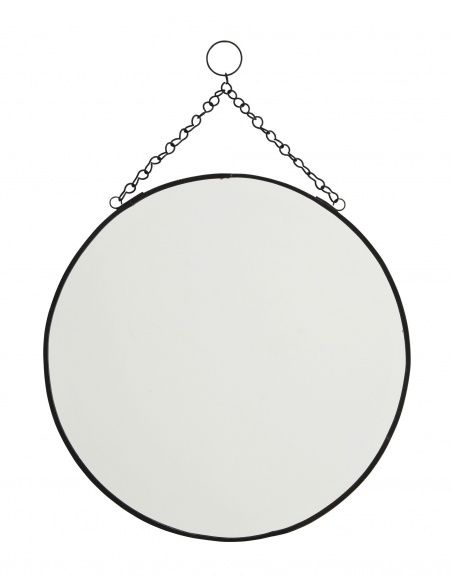 Madam Stoltz Round mirror black large