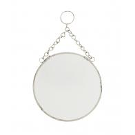 Round mirror silver small