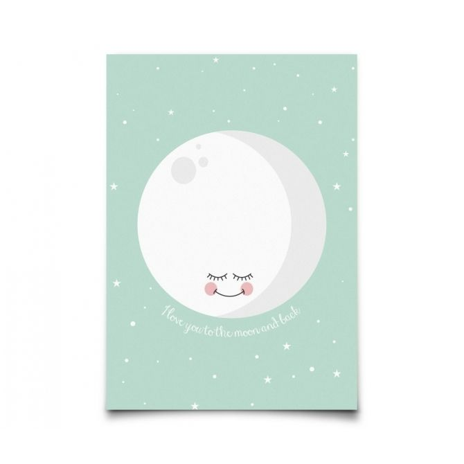 Postcard I Love You To The Moon and Back mint - Eef Lillemor