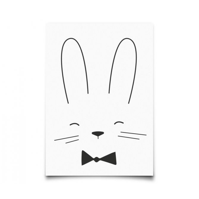 Postcard Monochrome Animals Rabbit - Eef Lillemor
