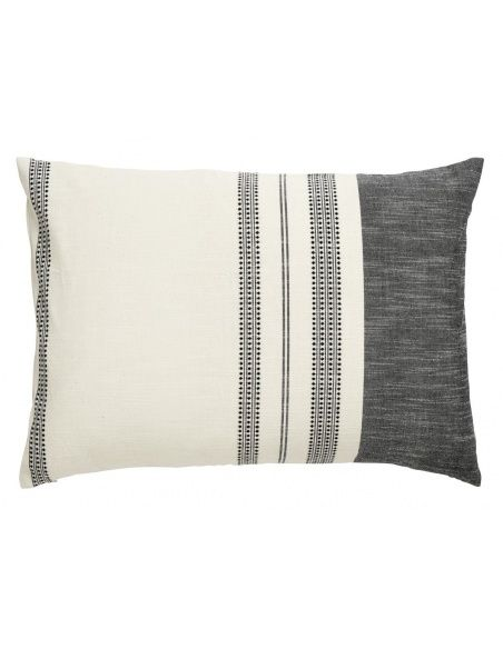 Nordal - Cushion cover, off white w/black embrod - 2