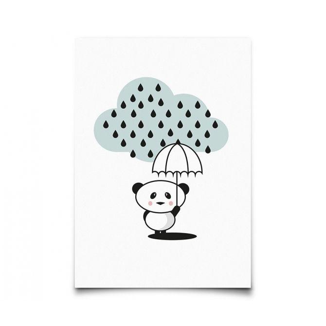 Postcard Panda Rain - Eef Lillemor