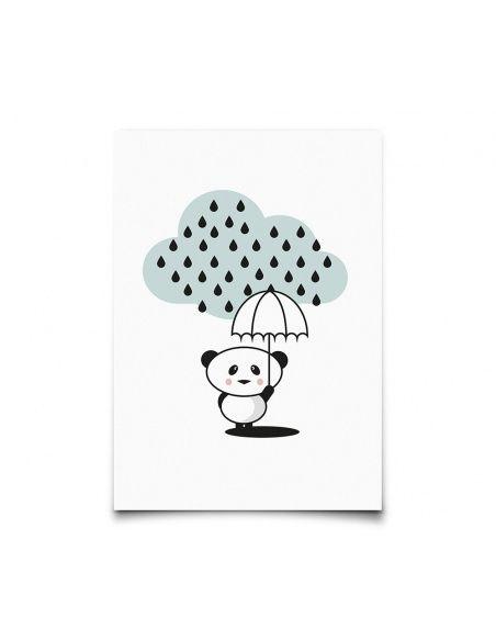 Eef Lillemor - Postcard Panda Rain - 1