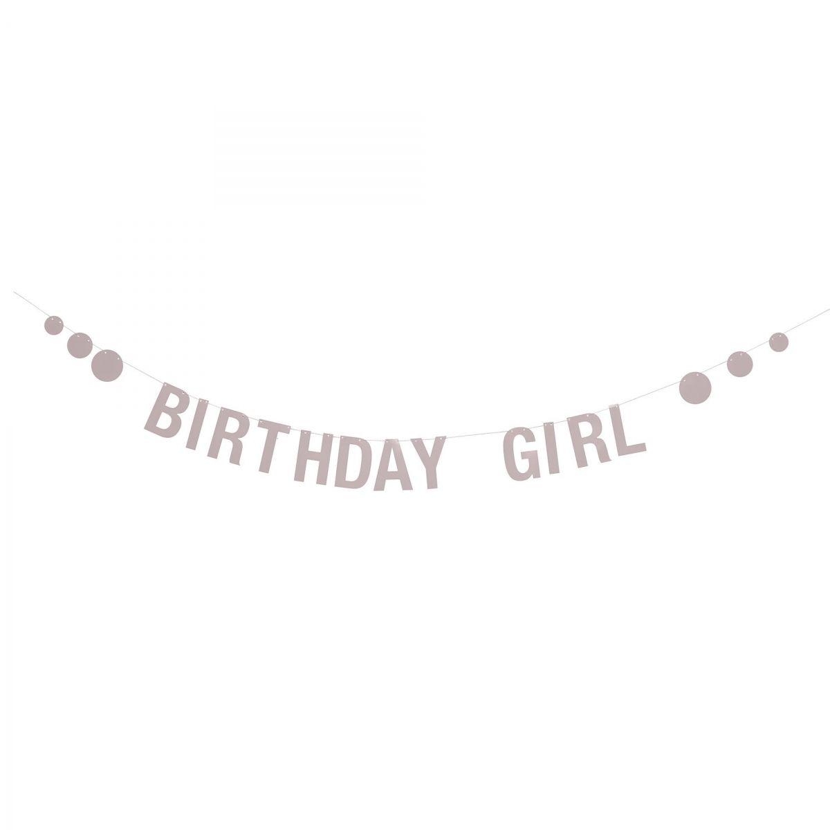 Girlanda Birthday Girl różowa papierowa - Bloomingville