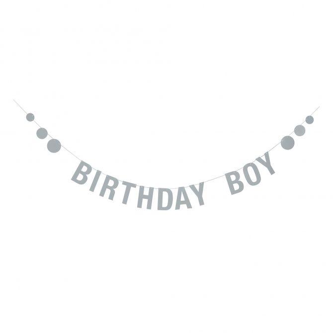 Bloomingville Girlanda Birthday Boy niebieska papierowa