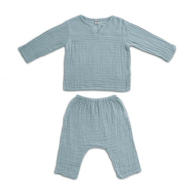 Komplet Zac koszulka & spodnie zgaszony błękit Numero 74 Moda
