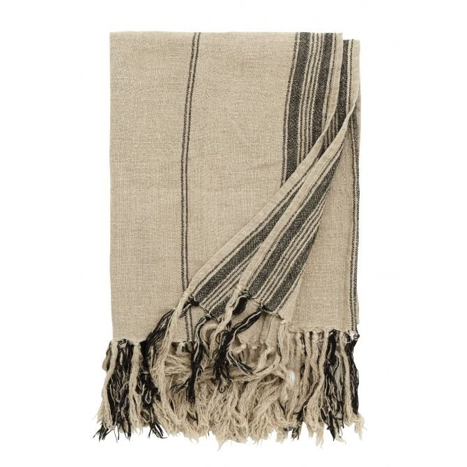 Blanket, natural linen w/black stripes, 130x160cm - Nordal