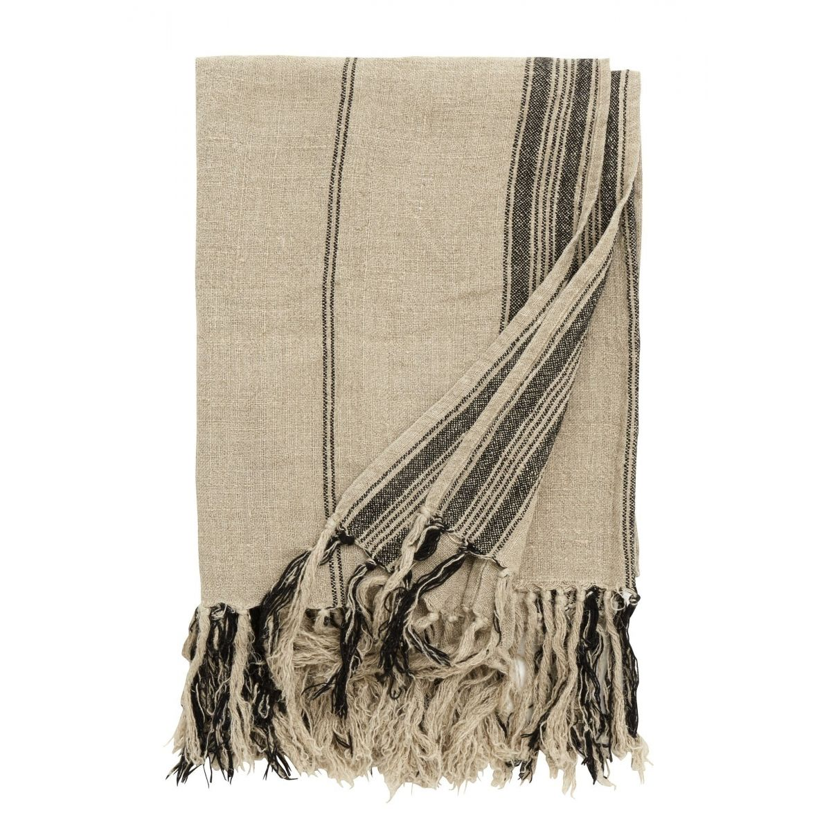 Nordal Blanket, natural linen w/black stripes, 130x160cm