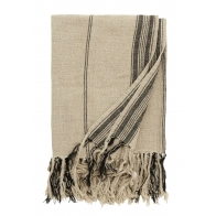 Blanket, natural linen w/black stripes, 130x160cm