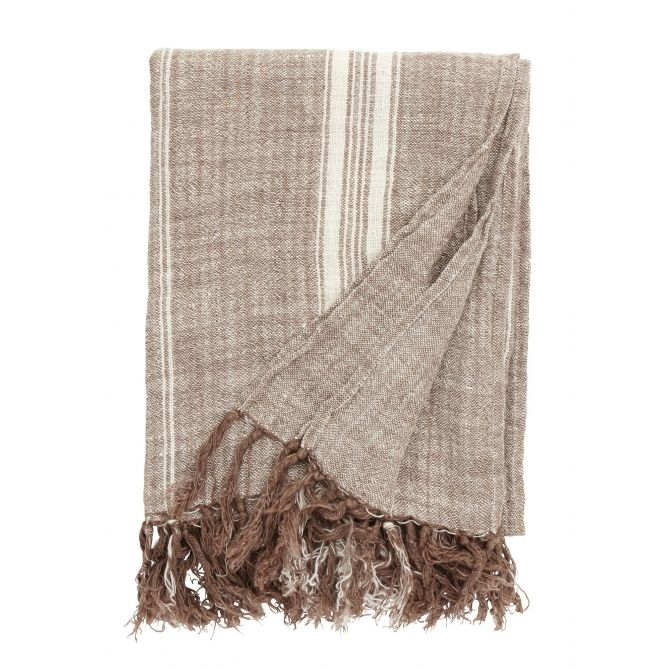 Blanket, brown w/white stripes, 130x160cm - Nordal