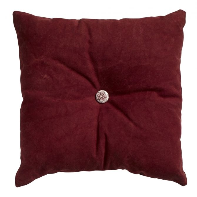 Nordal Button cushion, wine red, w/filling
