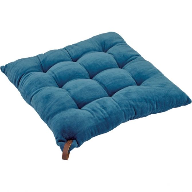 liv interior Chairpad 9 tucks blue