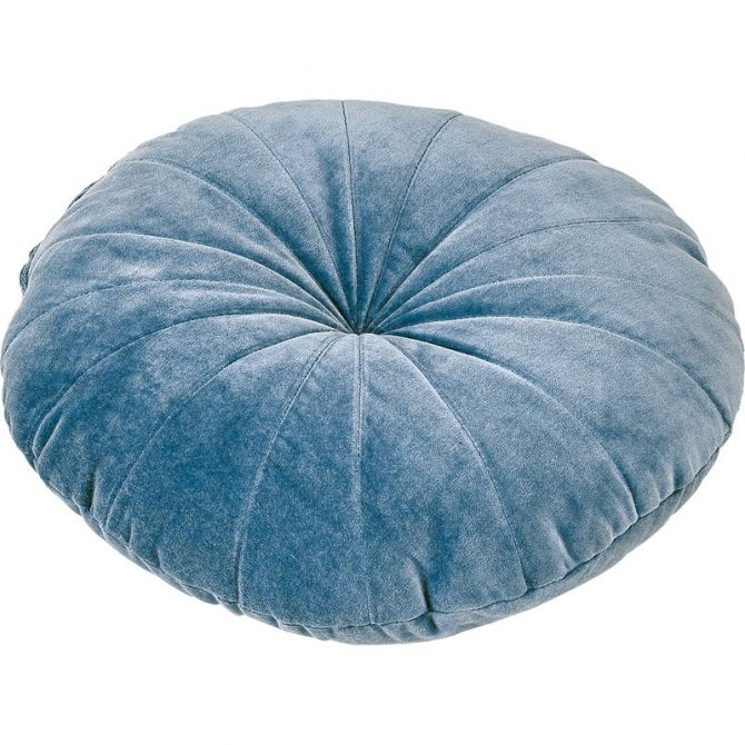 Round cushion velvet blue Ice - liv interior