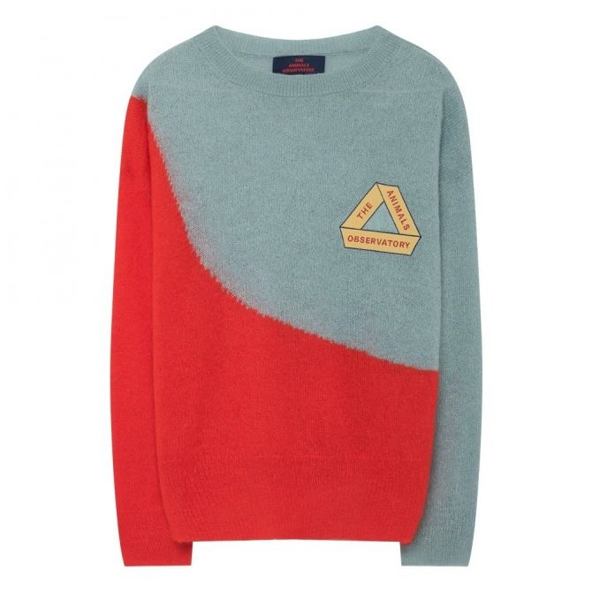 The Animals Observatory Sweater Bicolor Bull Triangle Soft Blue