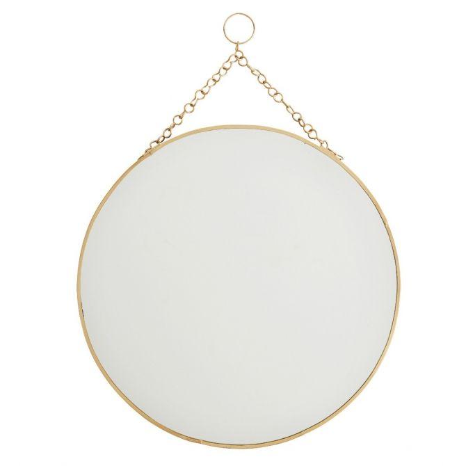 Madam Stoltz Okrągłe lustro, mosiądz, 30cm