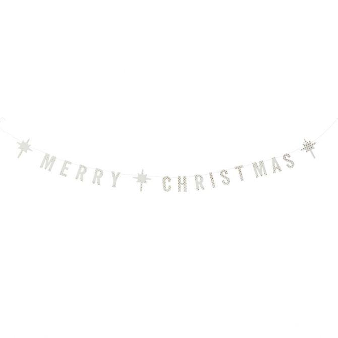 Madam Stoltz Girlanda Merry Christmas biała papierowa