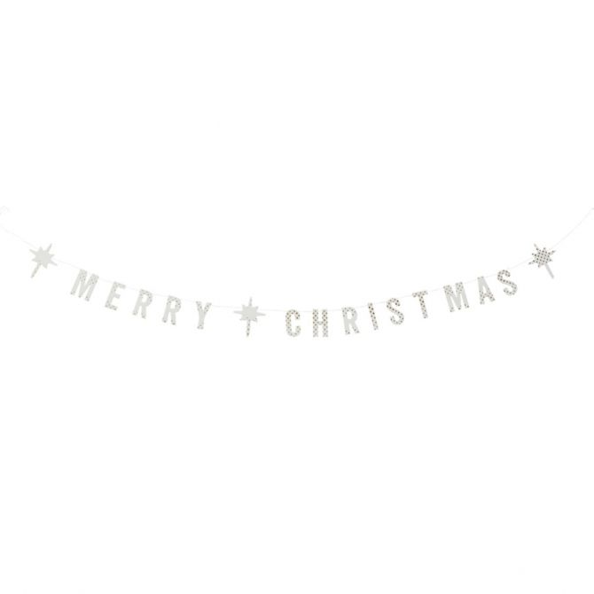 Madam Stoltz Merry Christmas white paper garland
