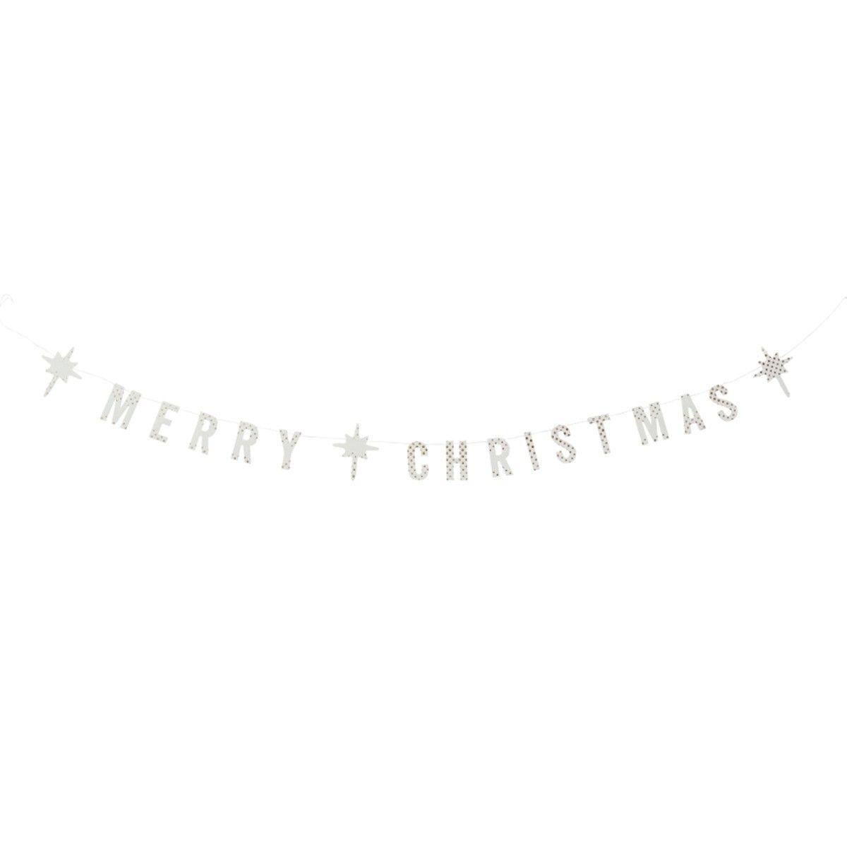 Madam Stoltz Merry Christmas white paper garland