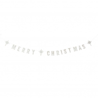 Merry Christmas white paper garland