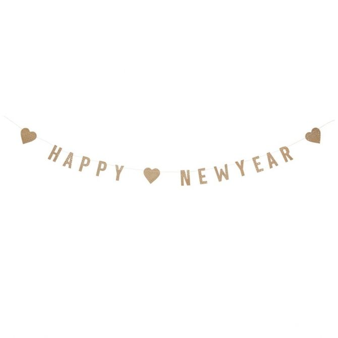 Madam Stoltz Happy New Year garland of gold paper
