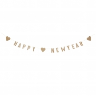 Happy New Year garland of gold paper