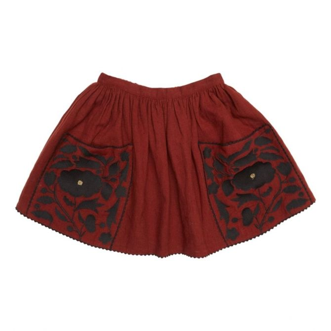 Cow Embroidered Skirt brown